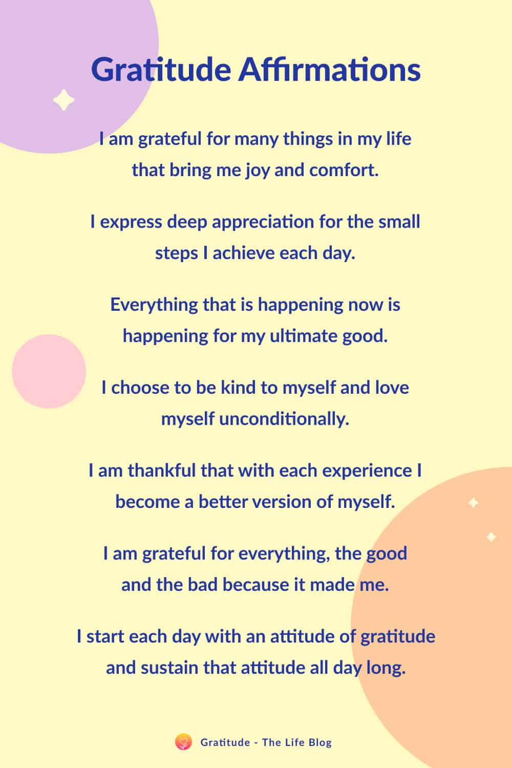 Image with list of gratitude affirmations