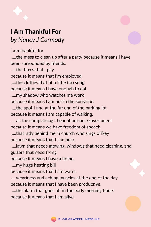 Image of gratitude poem 'I am Thankful For' by Nancy J Carmody