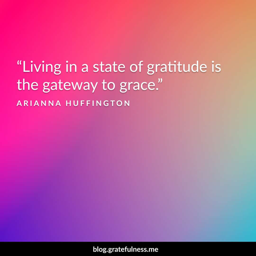 Image of a gratitude quote by Arianna Huffington
