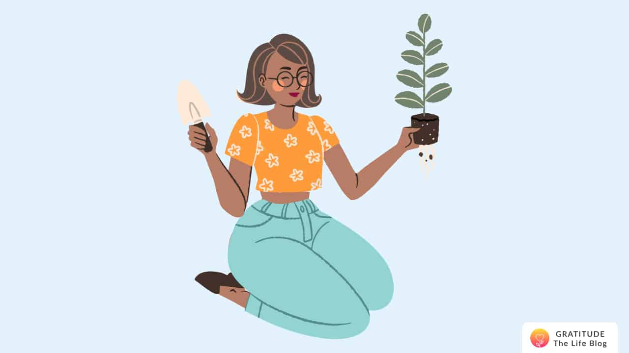 Illustration of a woman holding a plant in her hand