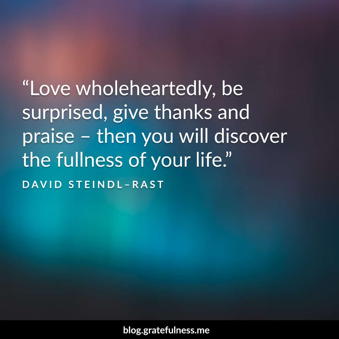 Image of a gratitude quote by David Steindl-Rast