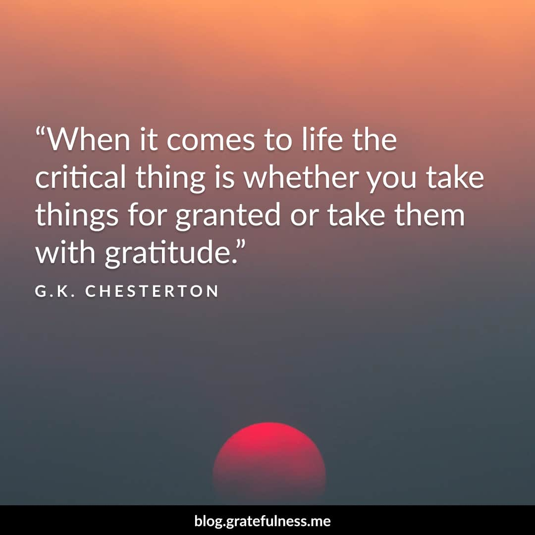 Image of a gratitude quote by G.K. Chesterton