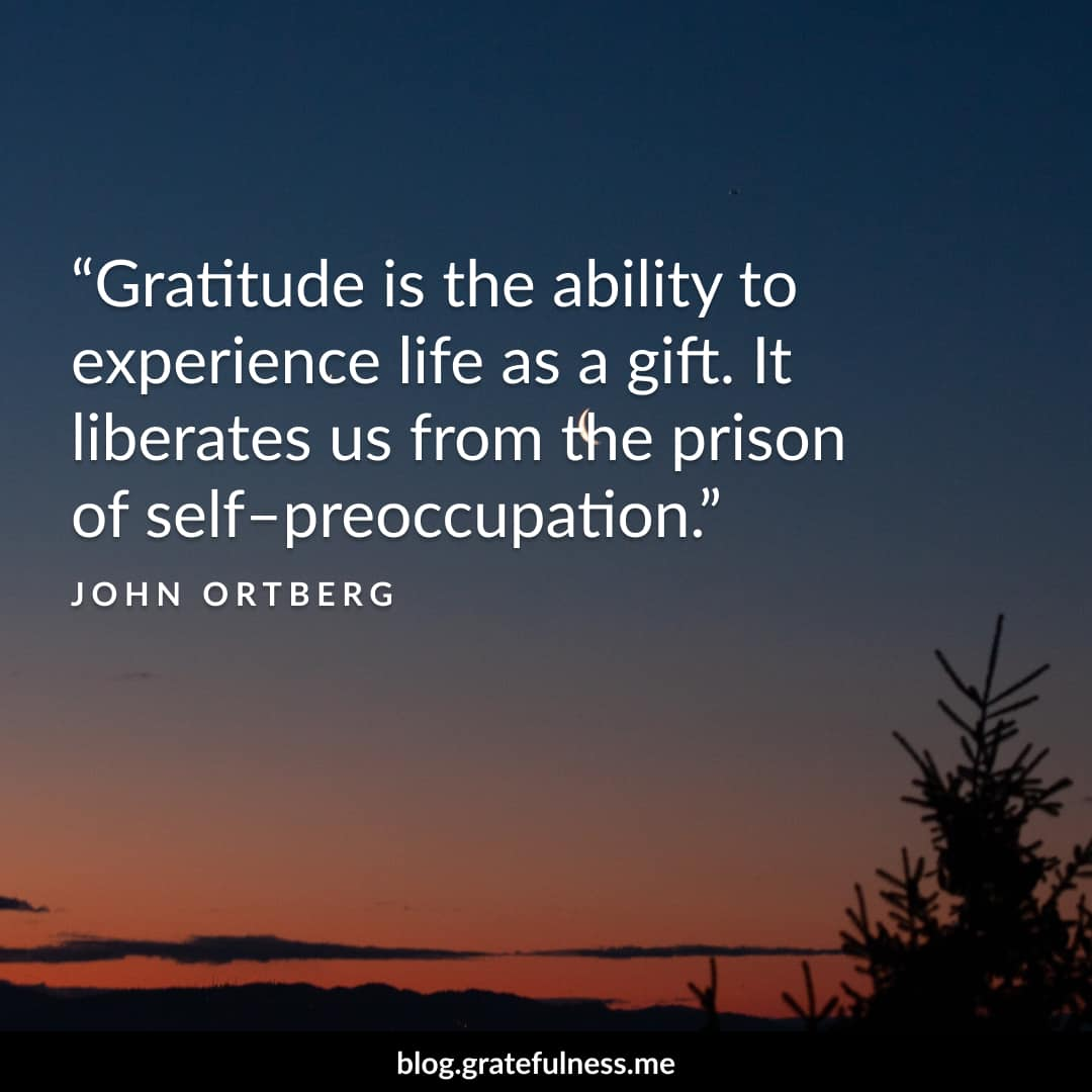 Image of a gratitude quote by John Ortberg
