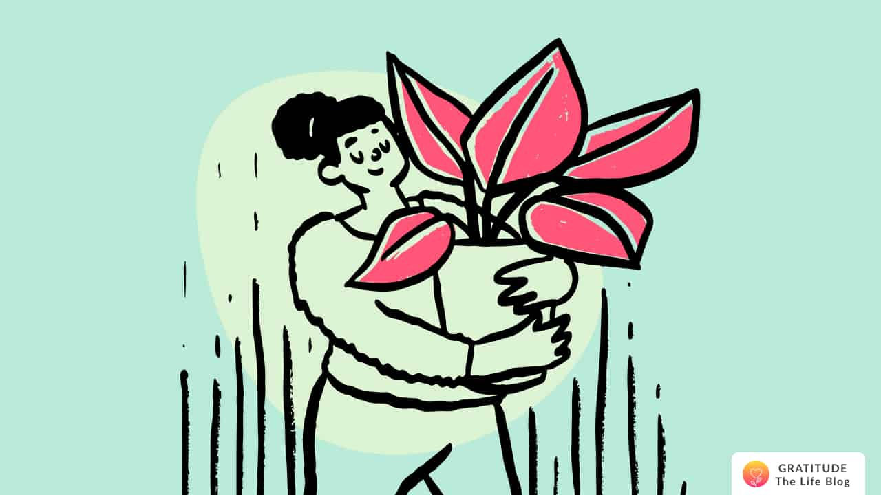Illustration of a woman holding a big flower pot