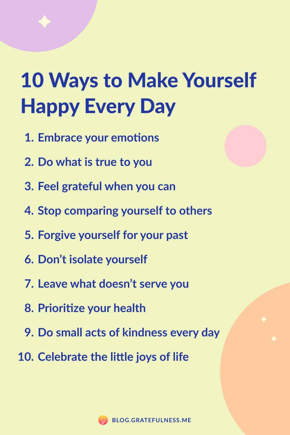 Image with list of 10 ways to make yourself happy