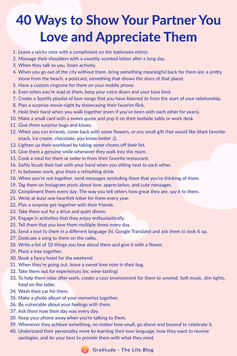 Image with the list of 40 ways to show your partner you love and appreciate them.