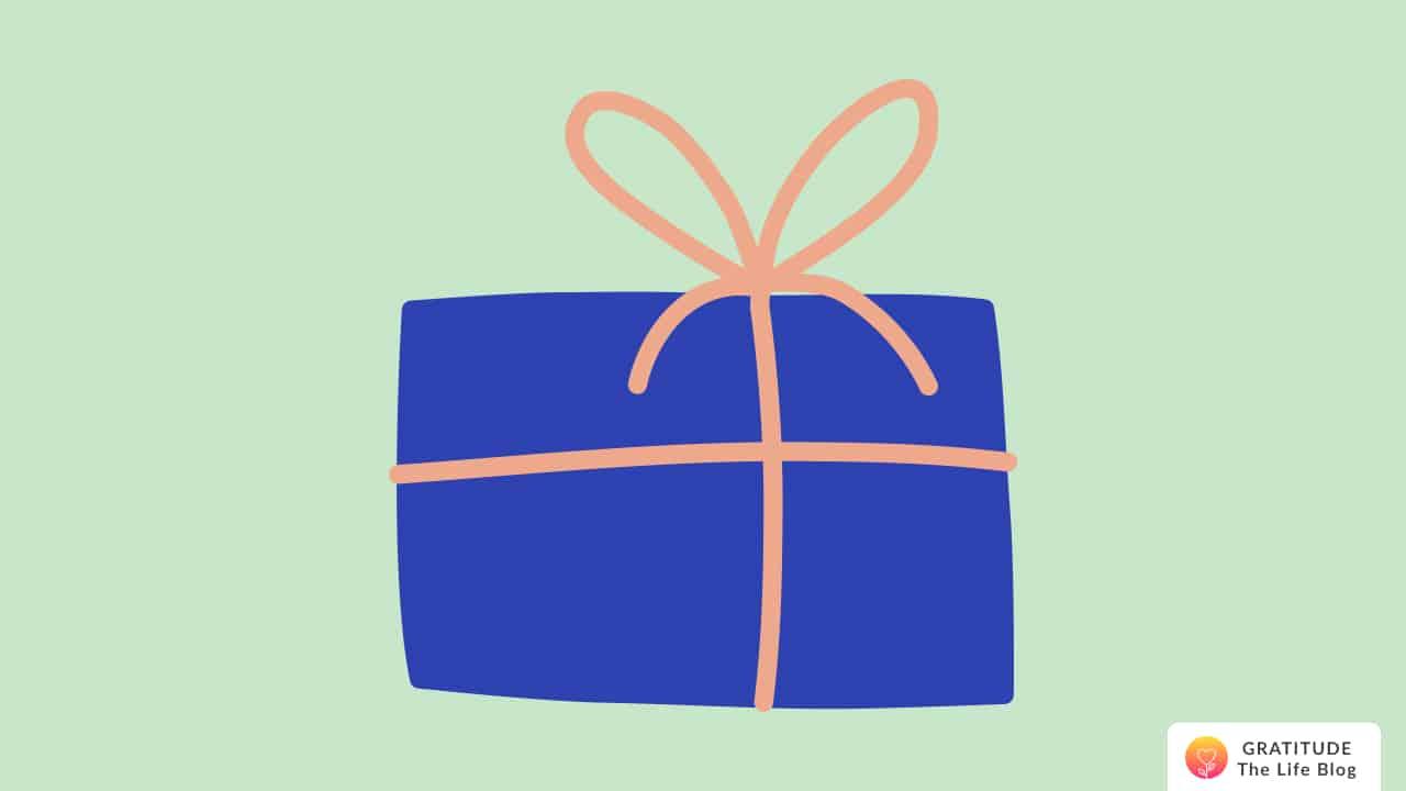 Illustration of a blue and orange gift box