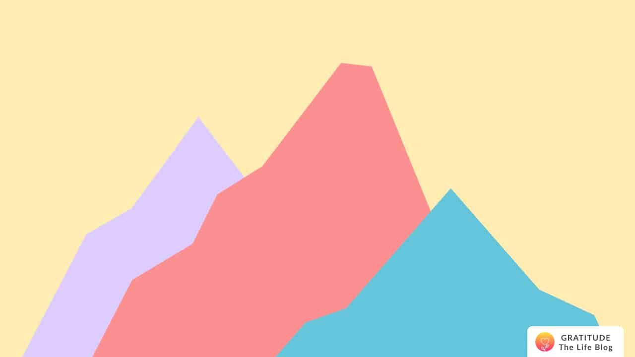 Illustration of three colored mountains