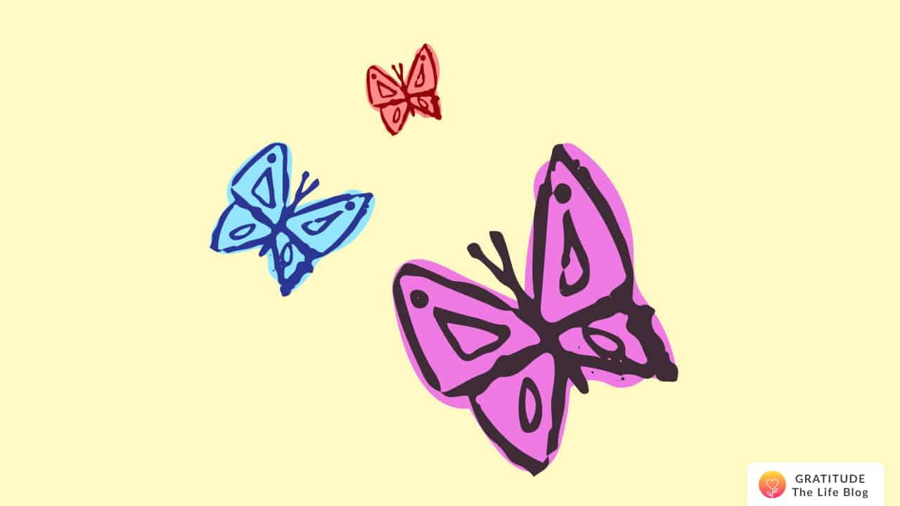 Illustration of three butterflies