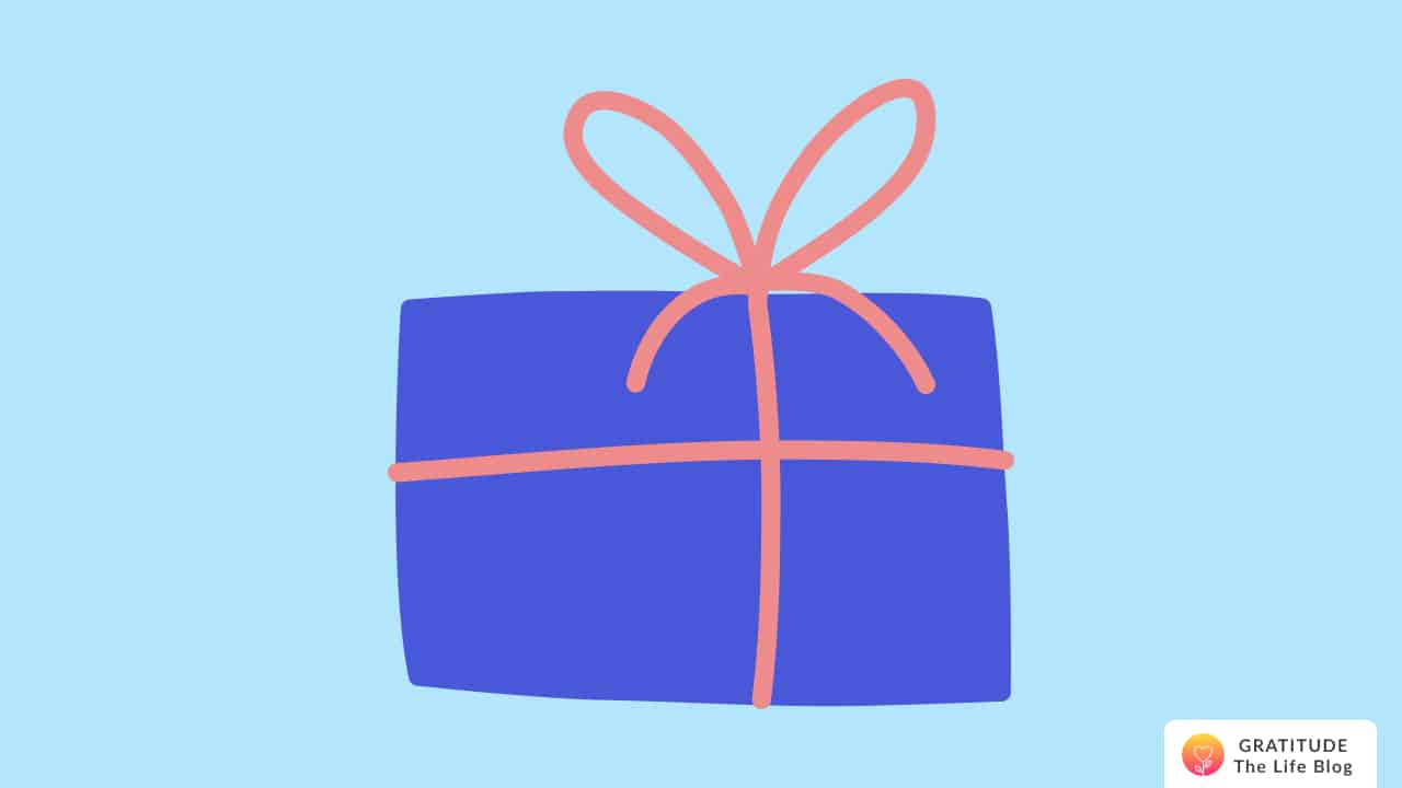 Illustration of a blue paper wrapped gift with orange ribbon