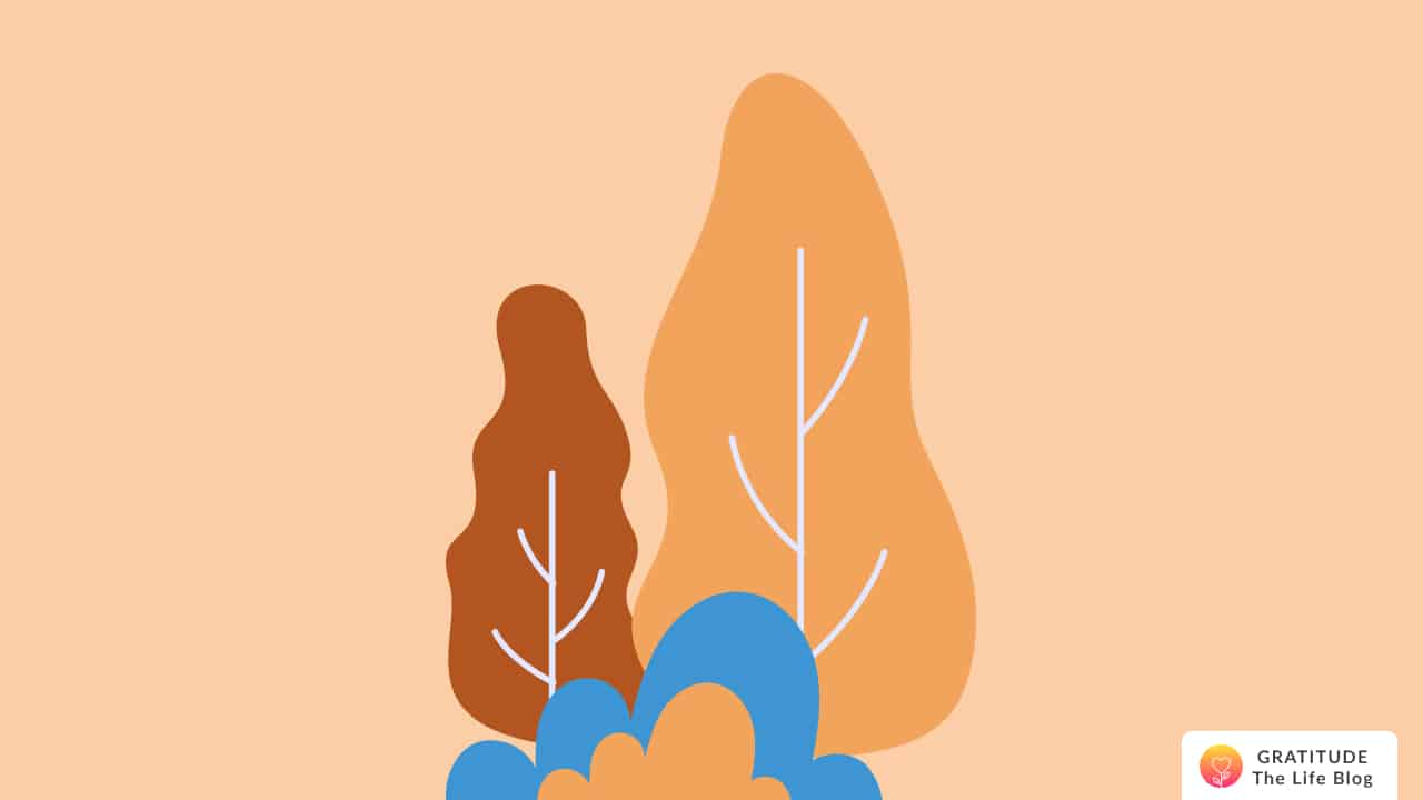 Illustration of orange and brown trees