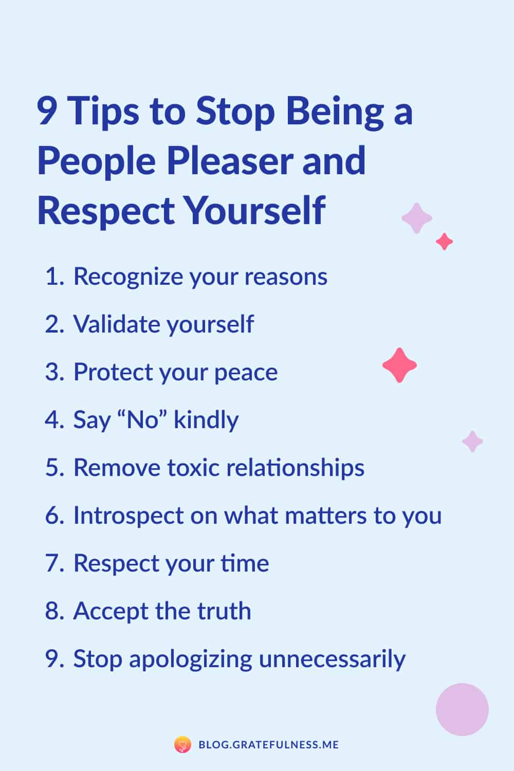 Image with list of 9 tips to stop being a people pleaser