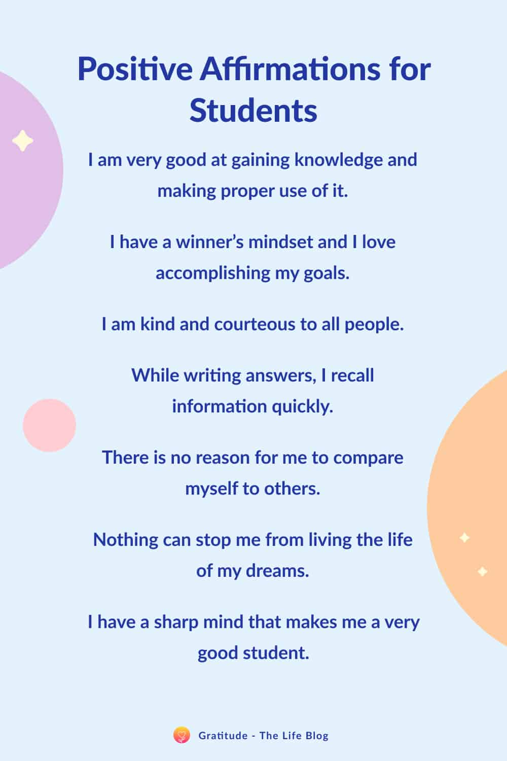 Image with list of positive affirmations for students